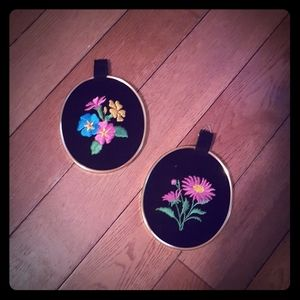 Other - 2/$10. 2 small framed floral embroideries